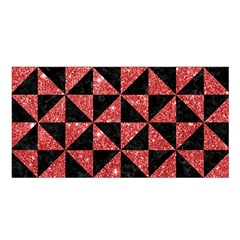Triangle1 Black Marble & Red Glitter Satin Shawl by trendistuff