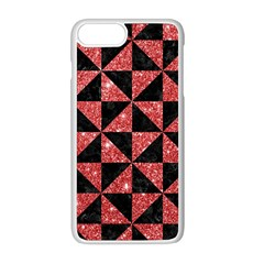Triangle1 Black Marble & Red Glitter Apple Iphone 8 Plus Seamless Case (white)