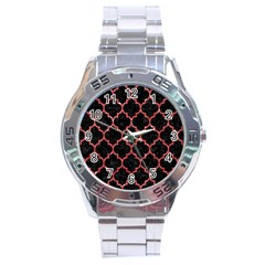 Tile1 Black Marble & Red Glitter (r) Stainless Steel Analogue Watch by trendistuff