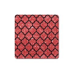 Tile1 Black Marble & Red Glitter Square Magnet by trendistuff