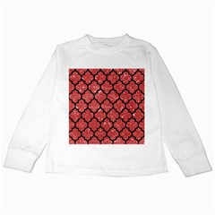 Tile1 Black Marble & Red Glitter Kids Long Sleeve T Shirts by trendistuff