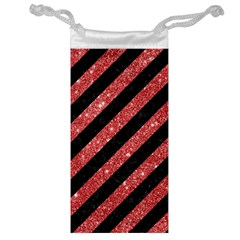 Stripes3 Black Marble & Red Glitter (r) Jewelry Bag by trendistuff