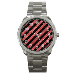 Stripes3 Black Marble & Red Glitter (r) Sport Metal Watch