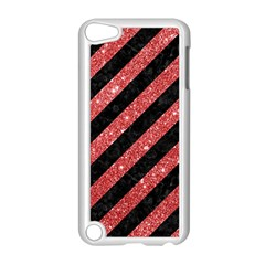 Stripes3 Black Marble & Red Glitter (r) Apple Ipod Touch 5 Case (white) by trendistuff