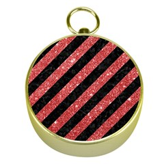 Stripes3 Black Marble & Red Glitter (r) Gold Compasses by trendistuff