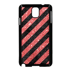 Stripes3 Black Marble & Red Glitter (r) Samsung Galaxy Note 3 Neo Hardshell Case (black) by trendistuff