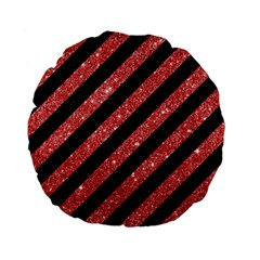 Stripes3 Black Marble & Red Glitter (r) Standard 15  Premium Flano Round Cushions by trendistuff