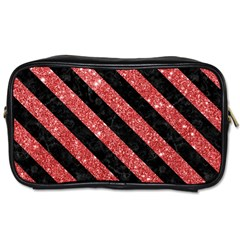 Stripes3 Black Marble & Red Glitter Toiletries Bags 2 Side by trendistuff