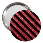 STRIPES3 BLACK MARBLE & RED GLITTER 3  Handbag Mirrors Front