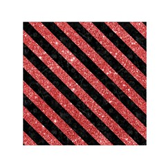 Stripes3 Black Marble & Red Glitter Small Satin Scarf (square) by trendistuff