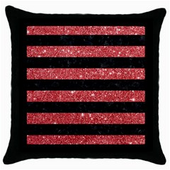 Stripes2black Marble & Red Glitter Throw Pillow Case (black) by trendistuff