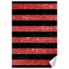 Stripes2black Marble & Red Glitter Canvas 12  X 18   by trendistuff