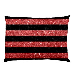 Stripes2black Marble & Red Glitter Pillow Case