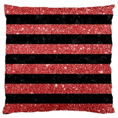 Stripes2black Marble & Red Glitter Large Cushion Case (one Side) by trendistuff