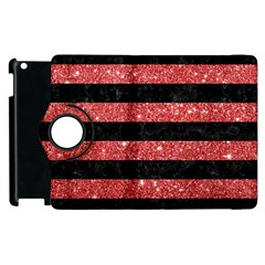 Stripes2black Marble & Red Glitter Apple Ipad 2 Flip 360 Case by trendistuff