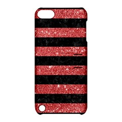 Stripes2black Marble & Red Glitter Apple Ipod Touch 5 Hardshell Case With Stand by trendistuff
