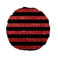 Stripes2black Marble & Red Glitter Standard 15  Premium Flano Round Cushions by trendistuff