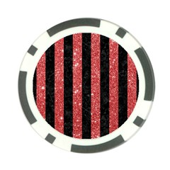 Stripes1 Black Marble & Red Glitter Poker Chip Card Guard (10 Pack) by trendistuff