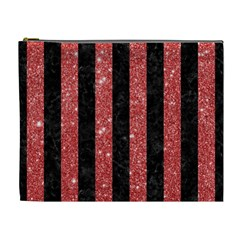 Stripes1 Black Marble & Red Glitter Cosmetic Bag (xl) by trendistuff