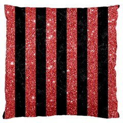 Stripes1 Black Marble & Red Glitter Large Cushion Case (two Sides) by trendistuff