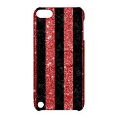 Stripes1 Black Marble & Red Glitter Apple Ipod Touch 5 Hardshell Case With Stand by trendistuff