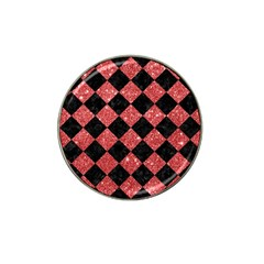 Square2 Black Marble & Red Glitter Hat Clip Ball Marker (4 Pack) by trendistuff