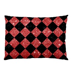 Square2 Black Marble & Red Glitter Pillow Case by trendistuff