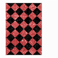 Square2 Black Marble & Red Glitter Small Garden Flag (two Sides) by trendistuff