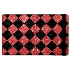 Square2 Black Marble & Red Glitter Apple Ipad 3/4 Flip Case by trendistuff