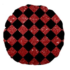 Square2 Black Marble & Red Glitter Large 18  Premium Round Cushions by trendistuff