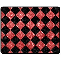 Square2 Black Marble & Red Glitter Double Sided Fleece Blanket (medium)  by trendistuff