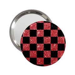 Square1 Black Marble & Red Glitter 2 25  Handbag Mirrors by trendistuff