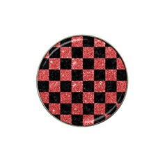 Square1 Black Marble & Red Glitter Hat Clip Ball Marker (4 Pack) by trendistuff