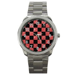 Square1 Black Marble & Red Glitter Sport Metal Watch by trendistuff