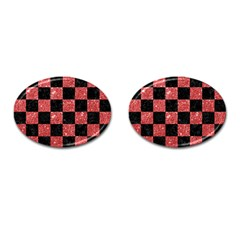 Square1 Black Marble & Red Glitter Cufflinks (oval) by trendistuff