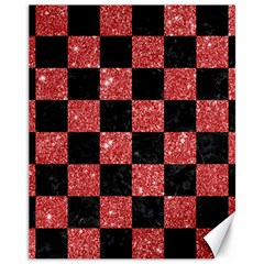 Square1 Black Marble & Red Glitter Canvas 11  X 14   by trendistuff
