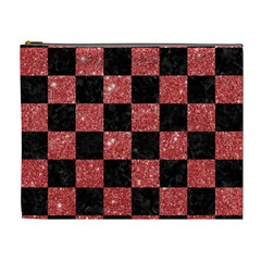 Square1 Black Marble & Red Glitter Cosmetic Bag (xl) by trendistuff