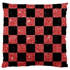 Square1 Black Marble & Red Glitter Large Cushion Case (two Sides) by trendistuff