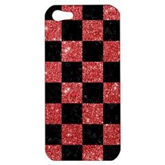 Square1 Black Marble & Red Glitter Apple Iphone 5 Hardshell Case by trendistuff