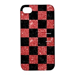 Square1 Black Marble & Red Glitter Apple Iphone 4/4s Hardshell Case With Stand by trendistuff