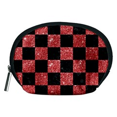 Square1 Black Marble & Red Glitter Accessory Pouches (medium)  by trendistuff