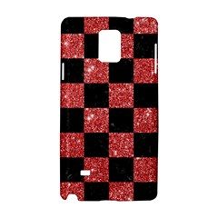 Square1 Black Marble & Red Glitter Samsung Galaxy Note 4 Hardshell Case by trendistuff