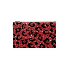 Skin5 Black Marble & Red Glitter (r) Cosmetic Bag (small)  by trendistuff