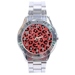 Skin5 Black Marble & Red Glitter (r) Stainless Steel Analogue Watch by trendistuff