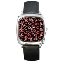Skin5 Black Marble & Red Glitter Square Metal Watch by trendistuff
