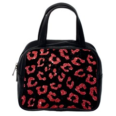 Skin5 Black Marble & Red Glitter Classic Handbags (one Side) by trendistuff