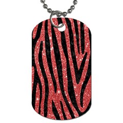 Skin4 Black Marble & Red Glitter (r) Dog Tag (two Sides) by trendistuff