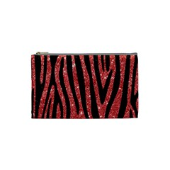 Skin4 Black Marble & Red Glitter (r) Cosmetic Bag (small)  by trendistuff