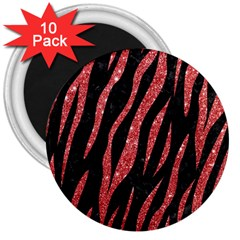 Skin3 Black Marble & Red Glitter (r) 3  Magnets (10 Pack)  by trendistuff