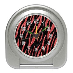 Skin3 Black Marble & Red Glitter (r) Travel Alarm Clocks by trendistuff